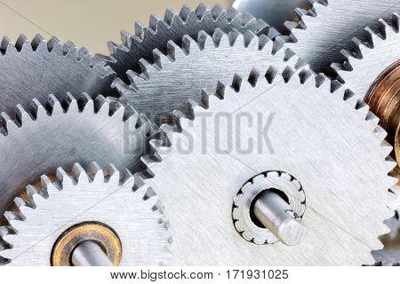 Set Of Various Steel Gears For Industrial Machinery