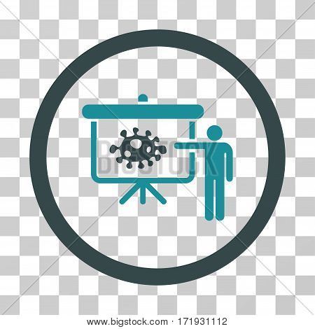 Bacteria Lecture vector pictogram. Illustration style is a flat iconic bicolor soft blue symbol on a transparent background.
