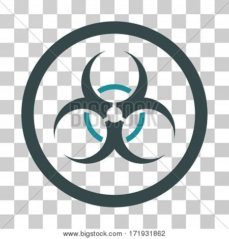 Bio Hazard vector icon. Illustration style is a flat iconic bicolor soft blue symbol on a transparent background.