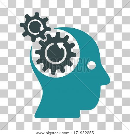 Brain Gears Rotation vector pictogram. Illustration style is a flat iconic bicolor soft blue symbol on a transparent background.
