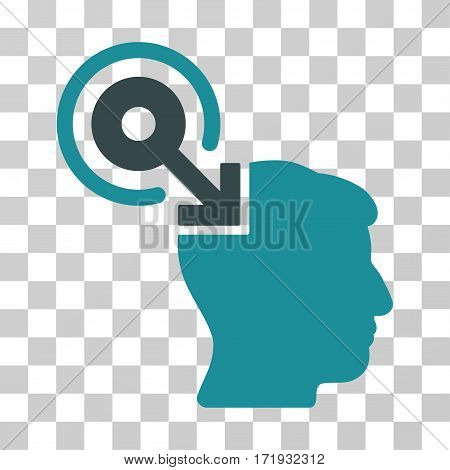 Brain Interface Plug-In vector icon. Illustration style is a flat iconic bicolor soft blue symbol on a transparent background.