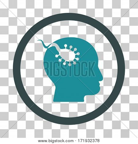 Brain Parasite vector pictogram. Illustration style is a flat iconic bicolor soft blue symbol on a transparent background.
