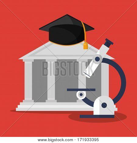 building microscope and graduation cap vector illustration eps 10