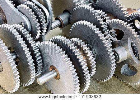Set Of Metal Mechanical Gear Cog Wheels Closeup