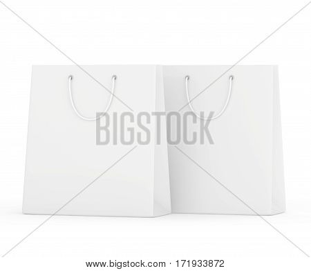 blank paper bags set isolated on white background. 3d rendering