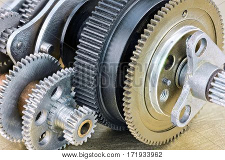 Mechanical Gear Cogwheels Mechanism On Industrial Background