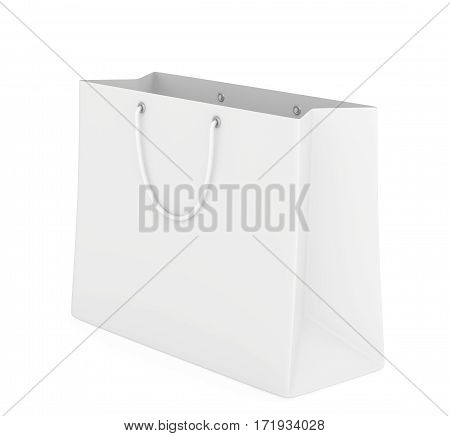 Empty paper bag on white background. 3d rendering.