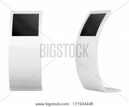 Freestanding information kiosk, terminal, stand 3d rendering