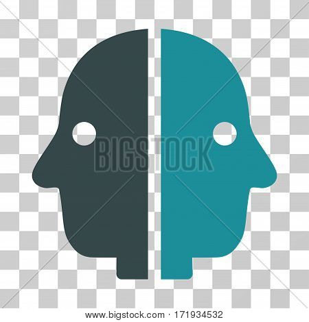 Dual Face vector pictogram. Illustration style is a flat iconic bicolor soft blue symbol on a transparent background.