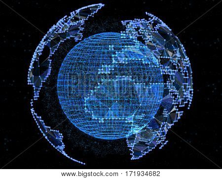 Digital blue planet telecommunications networks of global internet.