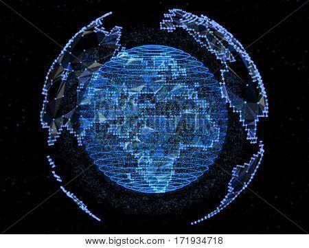 Digital blue planet telecommunications networks of global internet.