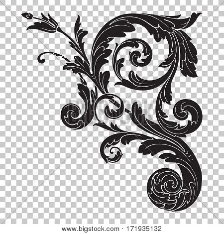 Isolate vintage baroque ornament retro pattern antique style acanthus. Decorative design element filigree calligraphy vector.