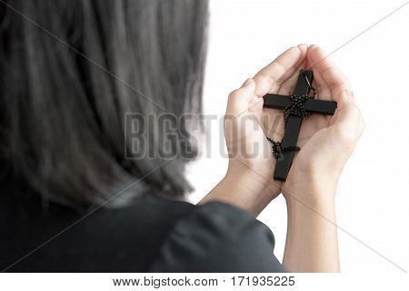 Hands Of A Asia Woman Praying With Rosary, Isolated On White Background. Clipping Path On White Back