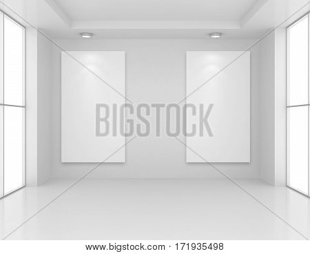 Gallery Interior with empty frame on wall and lights. 3d rendering.