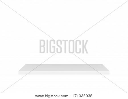 Blank shelf. 3d rendering isolated on white background.
