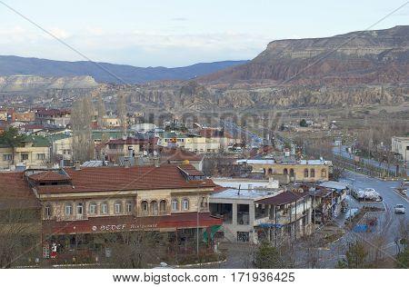 GOREME, TURKEY - 06 JANUARY, 2015: January morning in Goreme. Cappadocia, Turkey