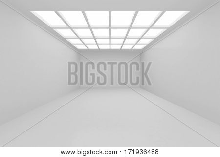 Interior with white wall onto which falls the light from window ceiling. 3d rendering.