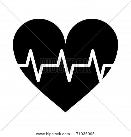 heart pulse rhythm cardio pictogram vector illustration eps 10