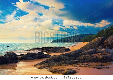 Sunset at Naithon sea beach. Phuket Thailand