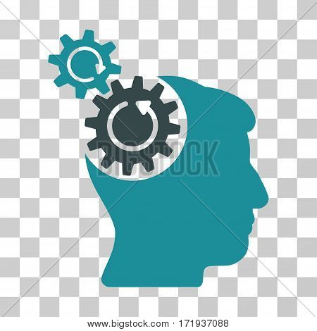 Head Cogs Rotation vector pictogram. Illustration style is a flat iconic bicolor soft blue symbol on a transparent background.