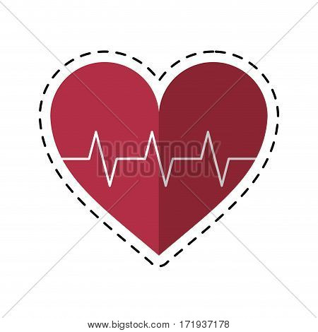 cartoon heart pulse rhythm cardio vector illustration eps 10