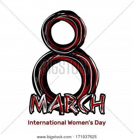 March 8. Hand drawn scribble lettering. International Women's Day. Black and red sloppy inscription on a white background. Vector design element, illustration