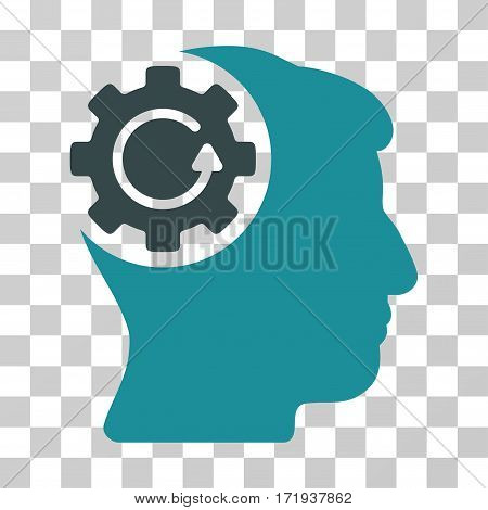 Intellect Gear Rotation vector icon. Illustration style is a flat iconic bicolor soft blue symbol on a transparent background.