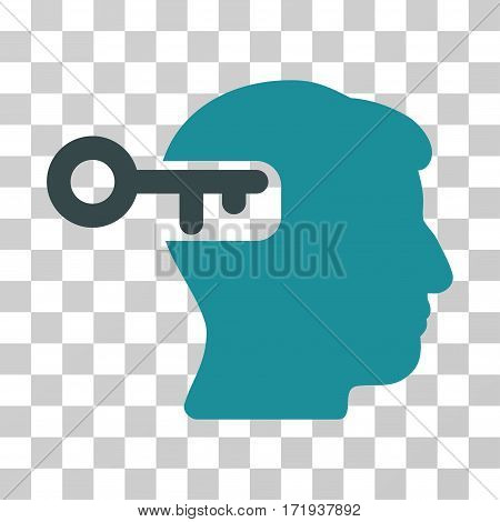 Intellect Key vector icon. Illustration style is a flat iconic bicolor soft blue symbol on a transparent background.