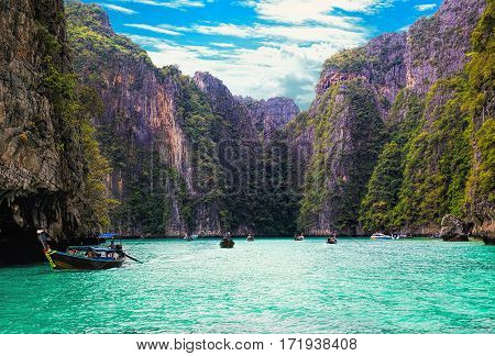 Pileh blue lagoon at Phi Phi islands Krabi Thailand.