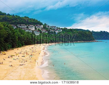 Panorama of Naithon sea public beach. Phuket Thailand