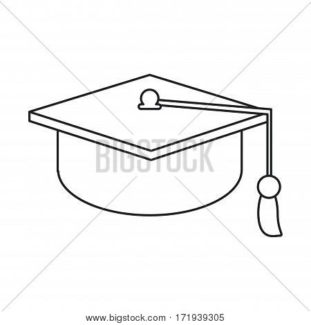 gaduation cap education symbol thin line vector illustration eps 10