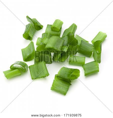 chopped spring onion or scallion isolated on white background cutout