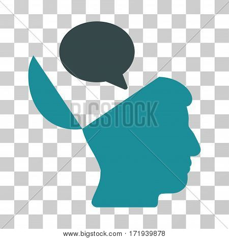 Open Mind Opinion vector icon. Illustration style is a flat iconic bicolor soft blue symbol on a transparent background.