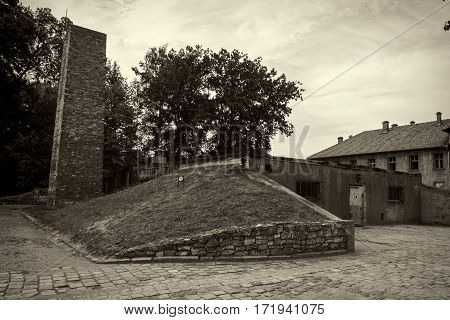 OSWIECIM POLAND - AUG 18: Crematorium and gas chamber in Auschwitz the biggest concentration camp in Europe on August 18 2015 in Oswiecim Poland.