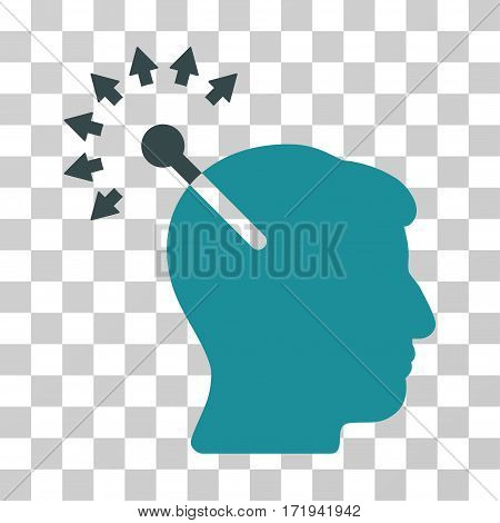 Optical Neural Interface vector pictograph. Illustration style is a flat iconic bicolor soft blue symbol on a transparent background.