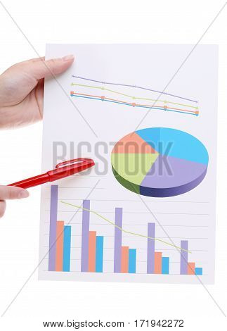 Hand holding color chart printed documents on white background