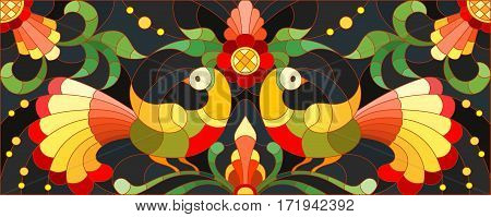 Illustration in stained glass style with a pair of birds flowers and patterns on a dark background horizontal imagethe imitation of painting Khokhloma