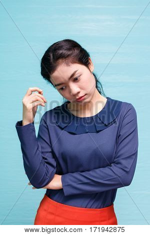 emotion of asian business woman in studio photo shoot