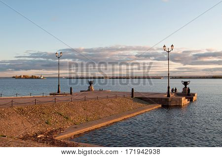 View of Peter pier in the October evening. Kronstadt, Russia