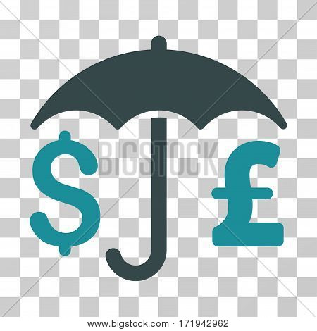 Pound And Dollar Financial Umbrella vector pictograph. Illustration style is a flat iconic bicolor soft blue symbol on a transparent background.