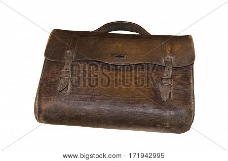Brown retro schoolbag with on white background