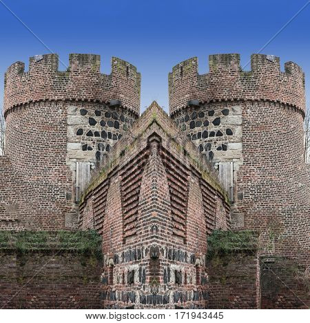 Photomontage the Kroetschenturm with city wall in the city Zons am Rhein Germany.