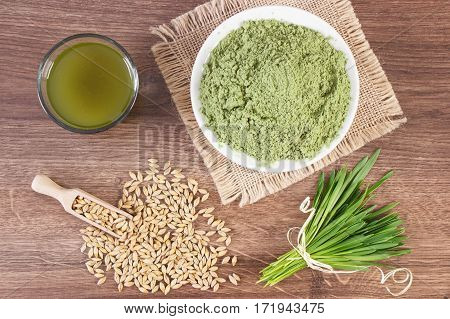 Young Powder Barley With Grains And Barley Grass With Beverage, Body Detox