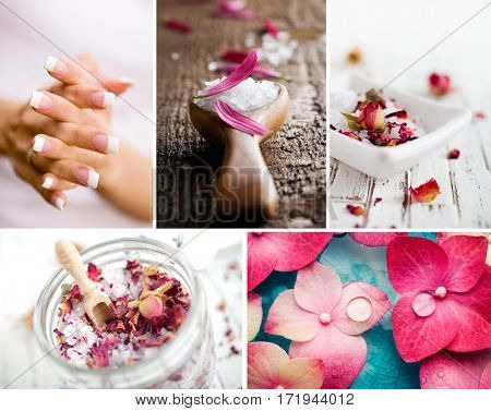 Wellness collage with bath salt and flower petals