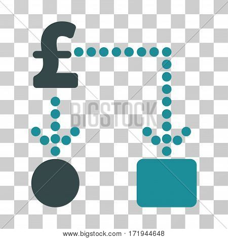 Pound Cashflow vector pictogram. Illustration style is a flat iconic bicolor soft blue symbol on a transparent background.