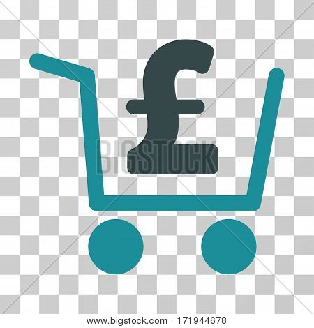 Pound Checkout vector pictogram. Illustration style is a flat iconic bicolor soft blue symbol on a transparent background.