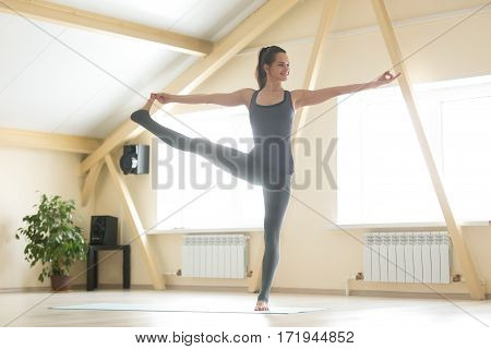 Young attractive smiling woman practicing yoga, standing in Utthita Hasta Padangustasana exercise, Extended Hand to Big Toe pose, working out, wearing grey sportswear, full length, home or sport club