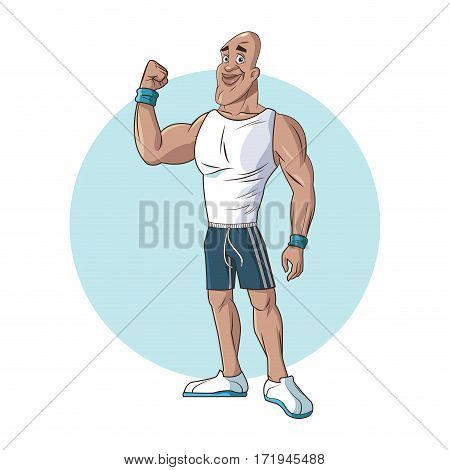 healthy man athletic muscular strong arm vector illustration eps 10