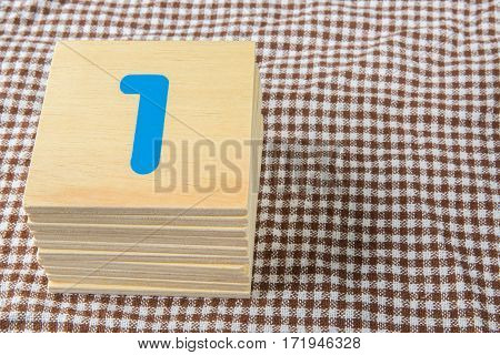 Numbers Set On Wooden Cubic