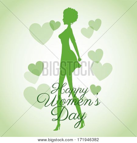 happy womens day card-silhouette girl green hearts vector illustration eps 10